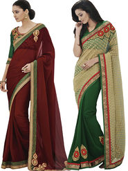 Pack of 2 Bahubali Embroidered Saree - CMB025