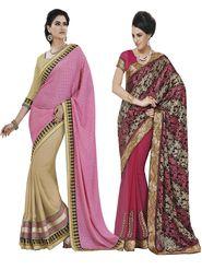 Ravishing Pack of 2 Embroidered Sarees - By Bahubali