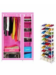 Kawachi Elegant Double-Sided Foldable Canvas Wardrobe with Portable Shoe Rack_C78-Pink