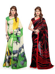 Combo of 2 Arisha Georgette Printed Saree -CMBS07