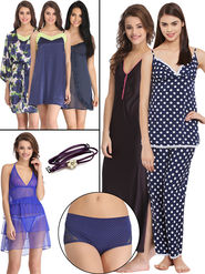 Pack of 10 Clovia Nightwear Set with Free Bra Strap and Panty -Combns101