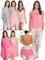 Pack of 10 Clovia Nightwear Set with Free Bra Strap and Panty-Combns105