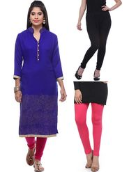 Combo of 3 Lavennder Woolen Blue Kurti & Black Pink Leggings -lvn08