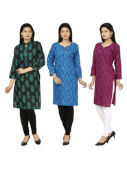 Combo of 3 Arisha Cotton Printed Kurtis -Combo01