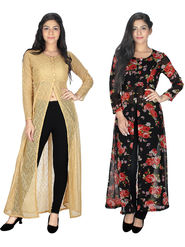 Pack of 2 Arisha Printed Georgette & Plain Net Front Open Kurtis  -ars150