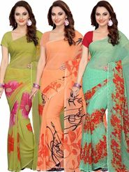 Combo of 3 Ishin Printed Faux Georgette Multicolor Saree-Com1144