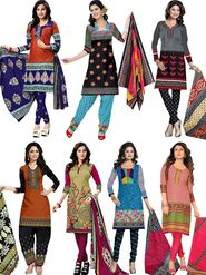 Pack of 7 Priya Fashions Printed Cotton Unstitched Dress Material -PF7S02