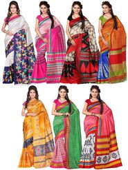 Combo of 7 Adah Fashions Art Silk Printed Saree -ad08
