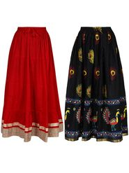 Pack of 2 Amore Printed Cotton Skirt -sk06
