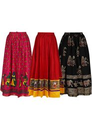 Pack of 3 Amore Printed Cotton Skirt -sk05