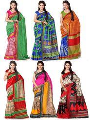 Pack of 6 Printed Bhagalpuri Artsilk Saree-ad35