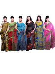 Combo Of 6 Ishin Georgette Printed Saree