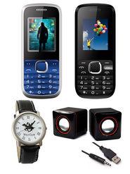 Combo Of Devante Hero 1 & Hero 2 Slim DUAL SIM Phones + 2.0 USB Multimedia Speakers + Polo Club Analog Watch