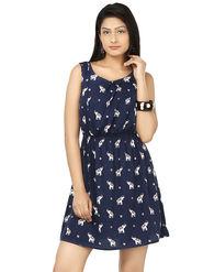 Arisha Crepe Printed Dress DRS1046DrkBlu-M