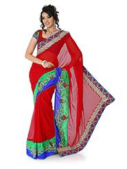 Embroidered Chiffon Saree - Deep Red-1384