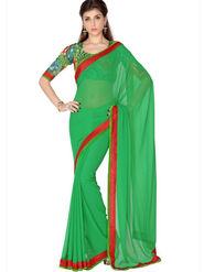 Designersareez Faux Georgette Embroidered Saree - Green - 1734
