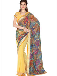 Designersareez Faux Georgette Digital Print Saree - Multicolor & Yellow