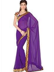Designersareez Faux Georgette Embroidered Saree - Purple