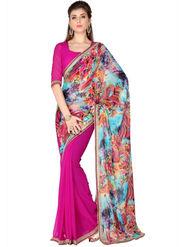 Designersareez Faux Georgette Digital Print Saree - Multicolor & Pink