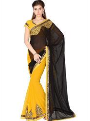 Designersareez Faux Georgette Embroidered Saree - Black & Yellow - 1764