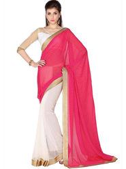Designersareez Viscose Jaquard & Net Embroidered Saree - Pink & White