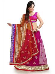 Embroidered Net Saree - Magenta