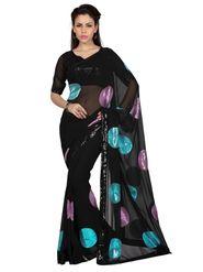 Designer Sareez Faux Georgette Embroidered Saree - Black - 1578