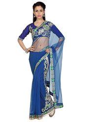 Designer Sareez Net Embroidered Saree - Navy Blue - 1579