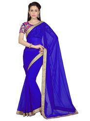 Designer Sareez Faux Georgette Embroidered Saree - ROYAL BLUE - 1625