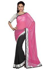 Designer Sareez Faux Georgette Embroidered Saree - Pink & Black - 1654