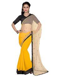 Designer Sareez Faux Georgette & Net Embroidered Saree - Beige & Yellow - 1656