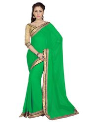Designer Sareez Chiffon Embroidered Saree - Green - 1713