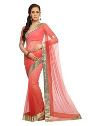 Designer Sareez Net Embroidered Saree - Deep peach
