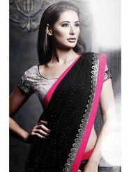Viva N Diva Satin & Rasal Net Embroidered Saree -Dramatic-5097