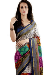 Ethnic Trend Cotton Printed Saree - Multicolour - 10023