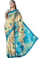 Ethnic Trend Chiffon Printed Saree - Multicolour - 1393-C