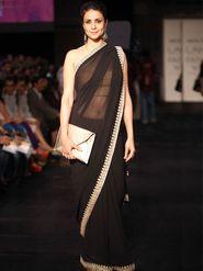 Ethnic Trend 60grm Georgette Embroidered Saree - Black - 381