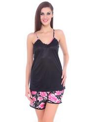 Fasense Satin Nightwear - Black & Pink-DP061 B