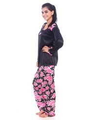 Fasense Satin Nightwear - Black & Pink-DP062 B