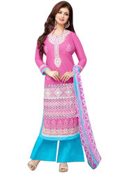 Fabfiza Embroidered Cotton Semi Stitched Straight Suit_FBER-10011