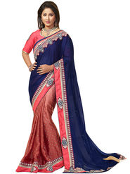 Florence Satin Chiffon Embroidered  Sarees FL-10912