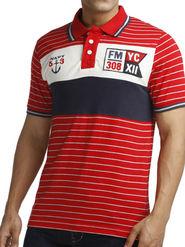 Branded Stripes  Half Sleeves Cotton Tshirt For Men - Red & Blue