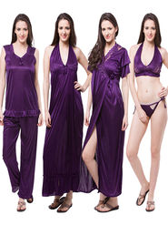 Pack of 6 Fasense Satin Plain Nightwear - DP114 E