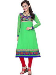 Florence Chiffon Embroidered Semi Stitched Anarkali Suits - Green - SB-2135