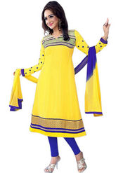 Florence Chiffon Embroidered Dress Material - Yellow - SB-2136