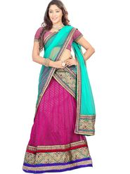 Florence Net with Braso Embroidered Lehenga - Pink - AN_1035