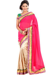 Florence Art Silk Embriodered Saree - Pink & Beige - FL-10157-E