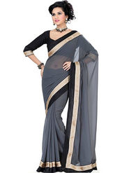 Florence Chiffon Embriodered Saree - Grey - FL-10220