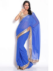 Silkbazar Chiffon Embroidered Saree - Blue - FL-2161-02