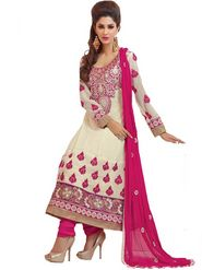Florence Georgette Embroidered Semi-Stitched Suit - Off White and Pink